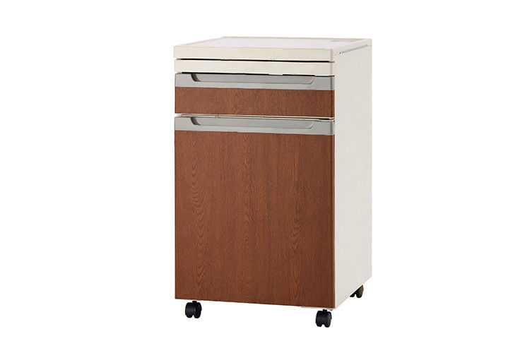 Smooth Hospital Bedside Cabinet , Movable Medical Bedside Cabinet On Wheels