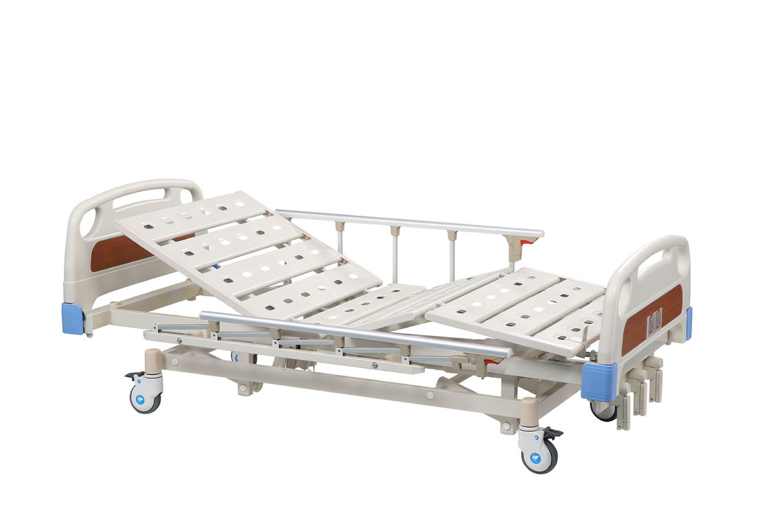 Three Functions Manual Hospital Bed With Aluminum Side Rail OEM / ODM Service